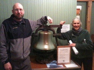 Kathleen & Lester with the old Santa Fe RR bell that was donated (photo by Chrissy Blaylock)