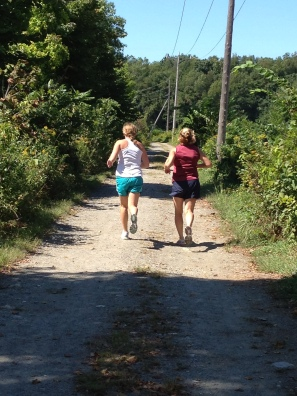 Mother-daughter runners on the lower section last summer. (Photo by Dede Cummings)