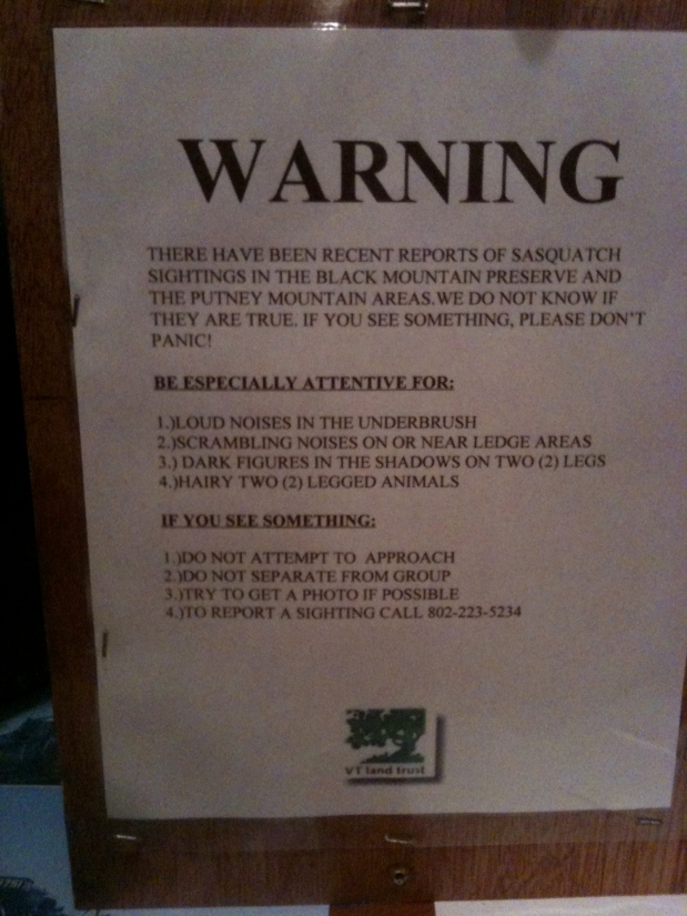 A Sasquatch Warning