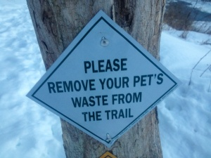 sign on the west river trail, photo by Elin Waagen