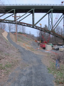 New by-pass trail heading south toward Brattleboro