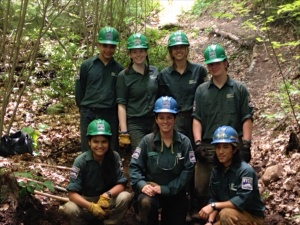 Conservation 11 Youth Crew  L to R back row: Henderson Ramirez, Beth Maguire, Hannah Chitambar, Nate Keeney Front: Altanai Winston, Ellen Holmes (crew leader), Chris Wu (assistant crew leader)
