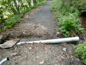 West River Trail, rainstorm damage to culvert