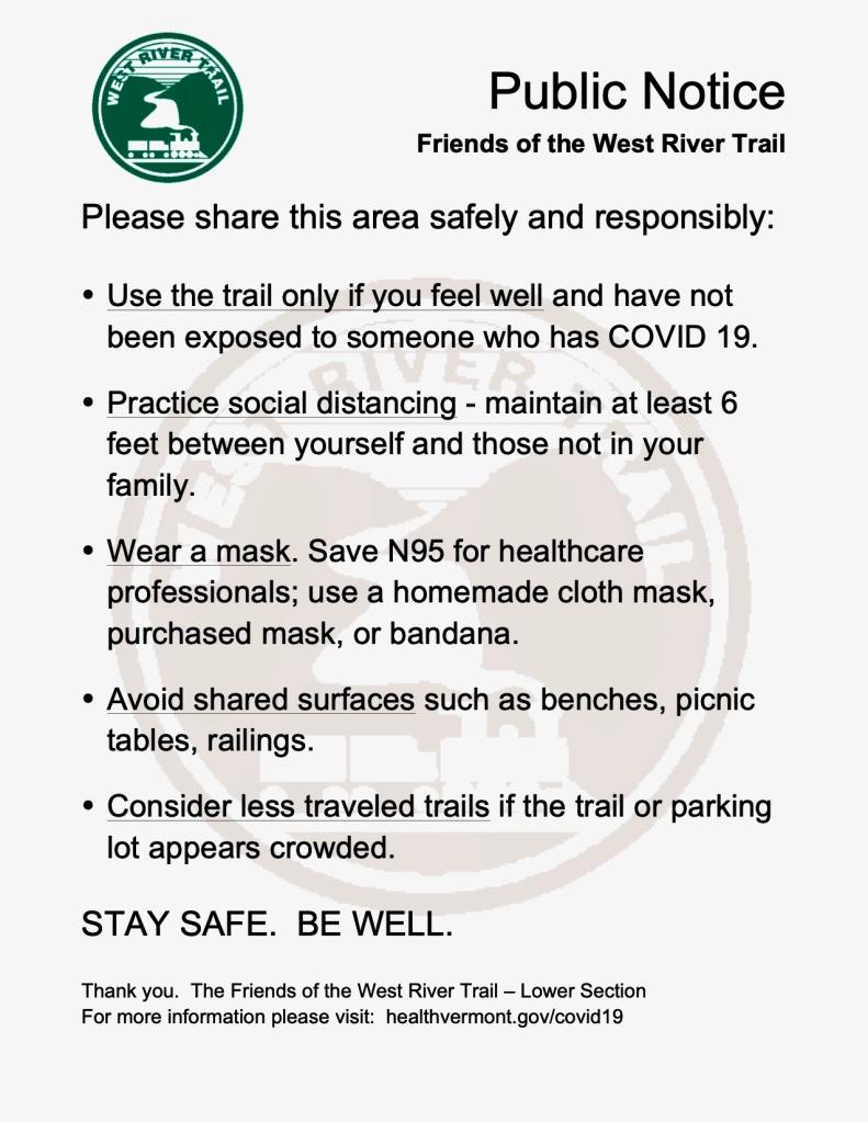 COVID19 public notice, West River Trail